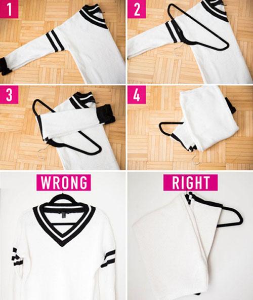 Cách treo áo len, áo thun