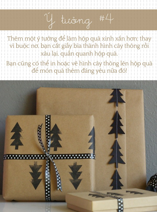 Mẹo hay gói quà Giáng sinh đơn giản