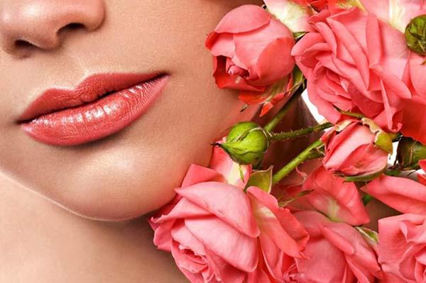 cách trị môi thâm bằng hoa hồng